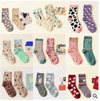 Cartoon Cotton Women's Socks Spring Summer Winter Girls Hosiery 2pairs/lot NFB007