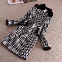 Free shipping,women's winter woolen trench fox fur collar overcoat ,M-3XL,large size