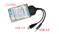 Super-Speed USB 3.0 Male to SATA 22 Pin Female Adapter c Cable for 2.5 Hard Disk Driver HDD with USB 2.0 Power Cable