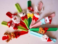 4PCS/lot New Christmas Colorful Santa Claus Snowman Deer Bear Clap Circle Christmas Cartoon Bracelet Hand Clasp Christmas Gift