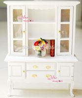 1/12 Dollhouse Miniature Wood White Cabinet Bookshelf Reading Dinning Living Room Furniture Toy for BJD