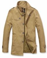 Men  Velvet long Windbreaker  Single-breasted  Slim fit  Fashion  Leisure coat  Free-shipping New 2014 warm  winter