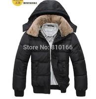 men down coat Men's coat Winter overcoat Outwear Winter jacket hooded thick fur jackets outdoor Free shipping