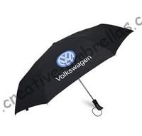 Volkswagen car umbrella,spuerlight anti-rust  frame,hex-angle steel shaft,three fold auto open&auto close parasol,windproof
