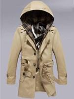 Men Removable Hooded Windbreaker Long Sleeve  jacket  Slim fit  Fashion  Leisure coat  Free-shipping New 2014 warm  winter