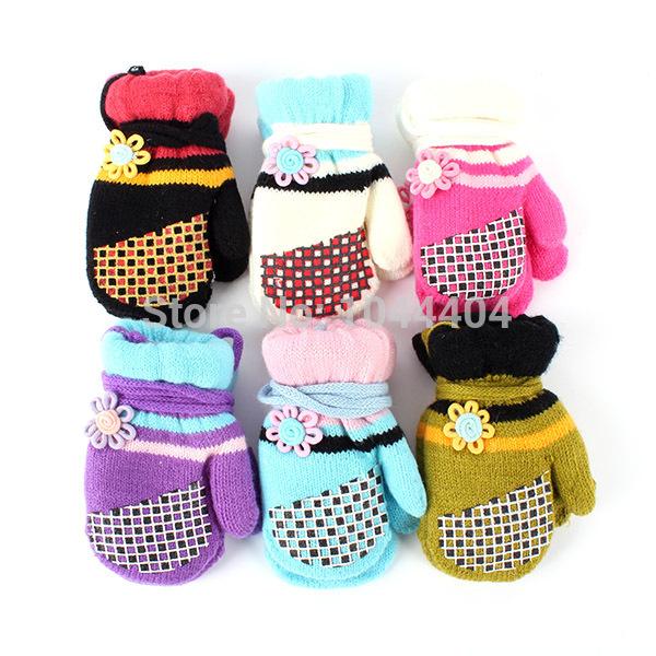 Child Boy Girl Winter Knit Glove Mittens Kids Baby Fleece+Cotton Warm GlovesFree&Drop Shipping(China (Mainland))