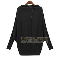 2014 High Quality Women ladies Batwing Sleeve Loose Sweater Pullover M-XL Black/Green SV006414