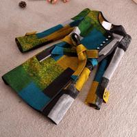 Free shipping, M-3XL,women's autumn winter woolen trench Rabbit fur collar overcoat long belt line,2 style ,large size
