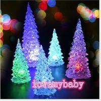 NEW Gift Changing Acrylic Christmas Tree Night Light LED 7Colors Lamp Home Decor