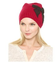 2014 brand New winter retro hat atmosphere big bow dome grosgrain appinqu knit cap  free shipping