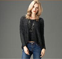 Free shipping fashion and hot sale 2014 new women winter Big yards feather yarn irregular pendulum sweater outerwear