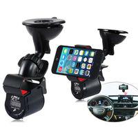 Latest Multi Functional Phone Holder 3.5mm Jack Car LED FM Transmitter Stand 360 Degree Rotation Holder + USB Car Charger