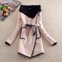 Free shipping, M-3XL,women's autumn winter woolen trench Rabbit fur collar overcoat long belt line,4 style ,large size