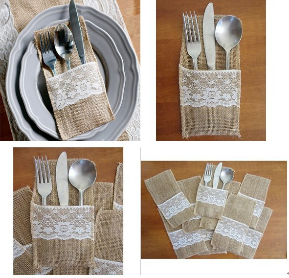 12pcs wedding table decoration/Table DecorationAccessories burlap Silverware Holders/country wedding jute lace pouch cover(China (Mainland))
