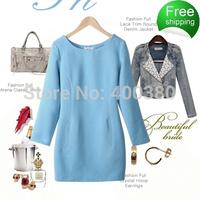 Autumn women's slim winter dress woolen one-piece dress elegant long-sleeve basic woolen skirt