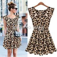 Sexy Women Ruffles leopard dress Print Novelty Skater Swing Mini Dress Sundress New arrival