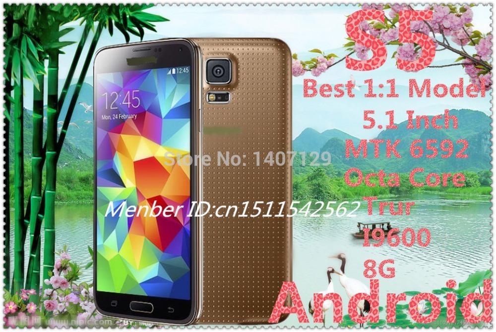 S5 1:1 clone 5.1 pouces. téléphone mobile téléphones cellulaires quad core mtk6582 android. 4.4( livraison gratuite)