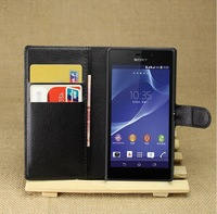 Magnetic Closure pu Leather Wallet Case For Sony Xperia M2 Aqua, With id Card Slot, 50pcs/lot by DHL Freeshipping