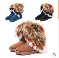 Free Shipping 2014Free Shipping New High Quality Fashion Rubber soles Warm Long Artificial Fox Snow Boots Women MW11250