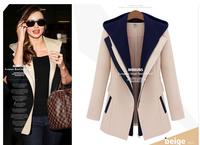 Top Quality Victoria Beckham Wool Coats,Spring Autumn Fashion Thin Jacket,Casual Women Patchwork Hooded Coat,Black/Khaki S-XXL