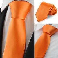 High Quality Wholesale&Retail New Solid Pumpkin Orange Men Tie Suit Necktie Formal Wedding Holiday Gift Drop Shipping