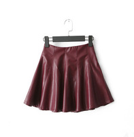 LZ Women's slim elastic high waist skirt PU pleated puff fashion faux leather solid color short mini skirt with under pants