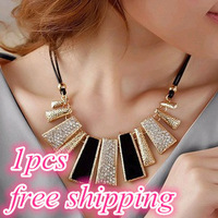 2015 New Women Design Fashion Beads Enamel Bib Leather Braided Rope Chain Golden Necklaces & Pendants free shipping