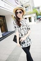 Blusas Casual Summer dress Fashion women Plus size Shirt women Chiffon Half sleeve O-Neck M L XL XXL black dafz050