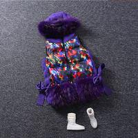 2014 winter new fashion floral big fur collar hooded rabbit pocket down Cotton Vest Jacket tide sweater casual vest