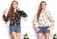 Free shipping ladies summer loose big yards retro lapel render long-sleeved shirt Chiffon shirt printing cross