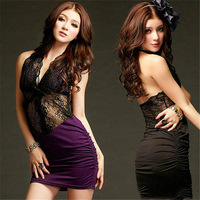European Style Women Hollow Out Lace Backless Patchwork Dress High Waist Mini Dress Ladies Sexy Clothing Club Wear HD026