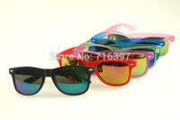 I-bright wholesale 10pcs/lot Fashion unisex classic jelly color 2140 wayfarer sunglasses reflective lens mirror sport eyeglasses