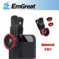 Universal 3in1 Clip-on Fish Eye Lens Wide Angle Macro Phone Lens For iPhone 4 5s Phones lente olho de peixe lente para celular