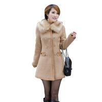 2014 new winter Sexy Women's Slim Wool Faux Fur Trench Parka Double-Breasted Winter Coat wool  coat women WCT218