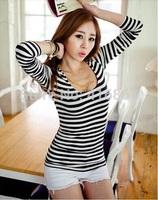 HOT Women's High quality Sexy T-Shirt O-Neck t shirt women Striped Casual long sleeve t shirt Free shipping