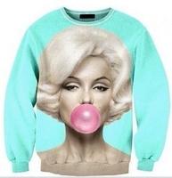 Drop Shipping New 2014 Fashion Women 3D Print Marilyn Monroe Blowing Bubble Sweatshirts Women's Casual Pullover Hoodies