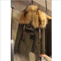 Winter large fur collar slim woolen overcoat women's thickening woolen outerwear