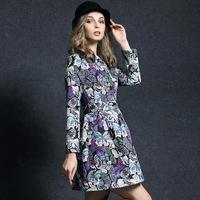 Women work wear new 2015 autumn winter dress elegant flowers printed vintage style pulloveres dobby slim fits one-piece dress
