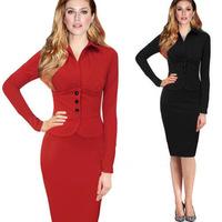 Plus Size XXL 2014 New Sexy Bodycon long sleeve Button Slim pencil dressed Elegant  Women OL Work Wear Vestidos