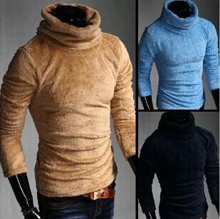 8 farben 2014 neue winter thinkening samt pullover männer rollkragen herren fleece jacke Winter warm slim fit männliche pullover männer
