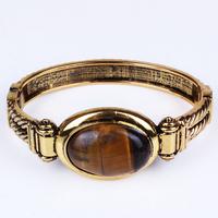 SZ6153Anti Gold Plated Oval Natural Tiger Eye Vintge Bangle/Bracelet