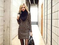 Fashion 2014 women's slim long-sleeve Printed Plaid Cashmere Render one-piece dress women's Winter basic Inner Dress