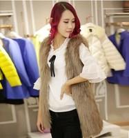 Free shippimg 2015 new winter/autumn medium-long women's female short /long design faux fox fur vest  coat (S-XL)