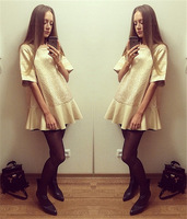 2014  autumn dobby half sleeve gold color one-piece dresses cute women dress