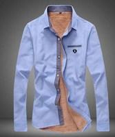 Man   Add wool  Lattice Color matching long Sleeve shirts Fashion   Free-shipping New 2014 warm  winter