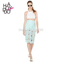 Cool mint green embroidery cutout lining midi skirt sexy bust skirt saias saias femininas