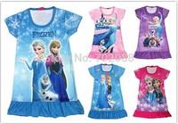 New 2014 summer frozen elsa anna princess Retail girl print dress brand children casual kids dress POLYESTER kids clothes party