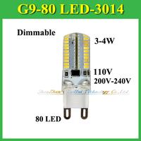 Dimmable G9 Base LED lamps 7W 3014 SMD 80 LEDs Droplight Silicone Body Bulb AC 110V 220V 230V 240V Multi Use LED Light Bulb
