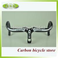 High quality full carbon fiber road bike handlebars with computer holder high strength carbon fiber handle