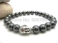 Free Shipping 2014 Men's Women's Semi precious Stone Religion Gift  Beaded Hematite Buddha Bracelet 8mm Round Beads Bracelet